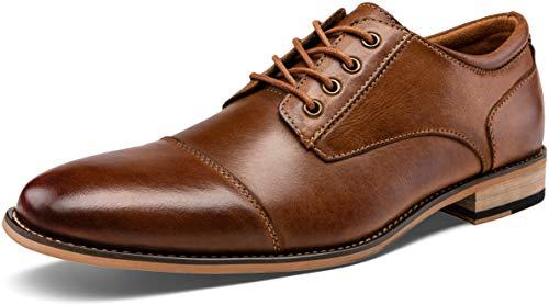 JOUSEN Men's Oxford Yellow Brown Retro Leather Formal Cap Toe Dress Shoes