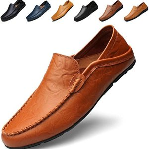 Go Tour Men's Premium Genuine Leather Casual Slip On Loafers Breathable