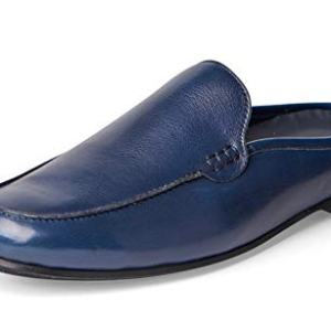 Carlos Santana PLANEO Leather Slip in Comfort Slides | Mules (9 D US, Navy Blue)