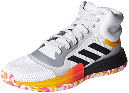 adidas Men's Marquee Boost Low Basketball Shoe, White/Black/Active Gold
