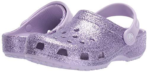 Crocs Kids' Classic Glitter Clog, Lavender, 13 M US Little Kid