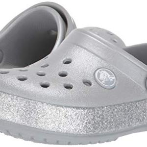 Crocs Kid's Glitter Clog, Silver, 5 M US Big Kid