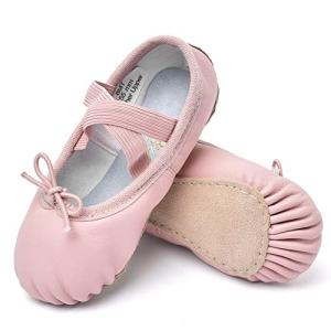 STELLE Girls Premium Leather Ballet Shoes Slippers for Kids Toddler