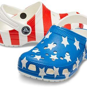 Crocs Kids' Classic American Flag Clog, White/Multi