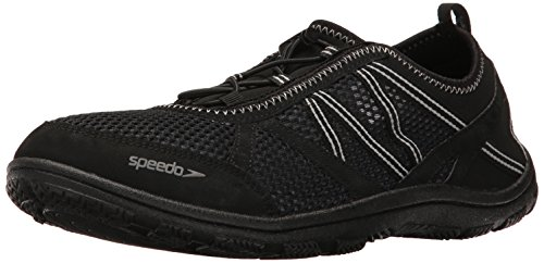 Speedo Men's Seaside LACE 5.0 Athletic Water Shoe, Black/Black