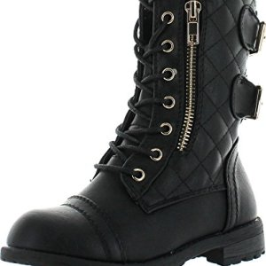 JJF Shoes Mango-79 Kids Black Combat Lace Up Quilted Dual Buckle Zip Decor