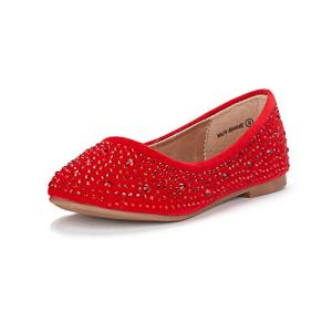 DREAM PAIRS Little Kid Muy-Shine Red Suede Girl's Mary Jane Ballerina Flat Shoes
