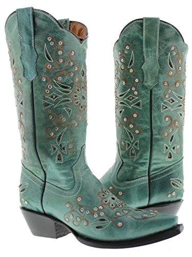 Cowboy Professional - Women's Turquoise Python Inlay Rhinestones Leather
