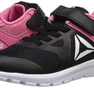 Reebok Girls' Rush Runner Alternate Closure Running Shoe, Black/Pink