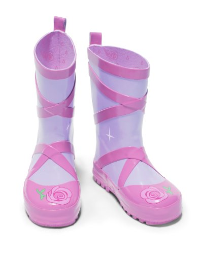 Kidorable Ballerina Rainboots, Pink, Size 8 M US, Natural Rubber Boots