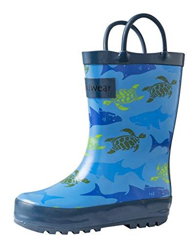 OAKI Kids Rain Boots Easy-on Handles, Sharks & Turtles