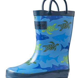 OAKI Kids Rain Boots Easy-on Handles, Sharks & Turtles