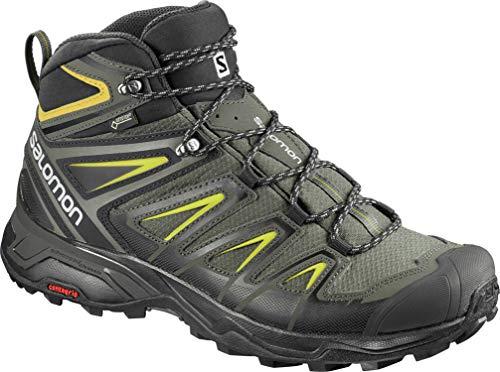Salomon Men's X Ultra 3 Mid GTX Hiking Boots, Castor Gray/Black/Green Sulphur, 11.5 Wide