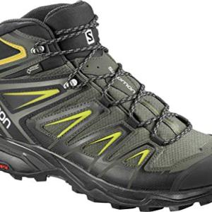 Salomon Men's X Ultra 3 Mid GTX Hiking Boots, Castor Gray/Black/Green Sulphur, 11.5 Wide