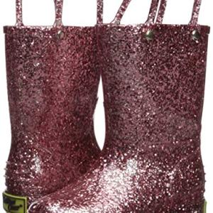 Western Chief Girl's Glitter Waterproof Rain Boot, Rose Gold