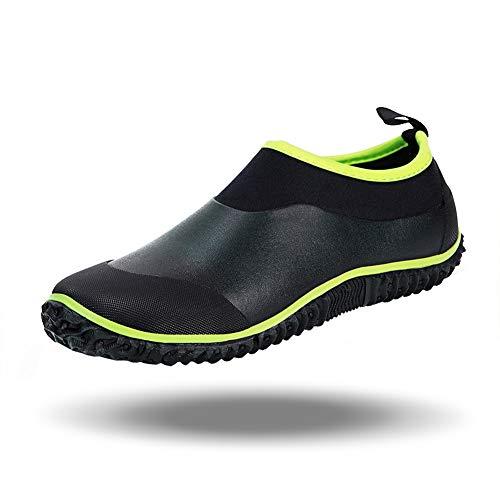 babaka Men's Rain Shoes Garden Waterproof Women's Rain Boots Rubber Outdoor Footwear Black&Green 10.5 Men/12 Women