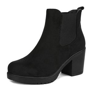 DREAM PAIRS Women's Fre Black High Heel Ankle Boots