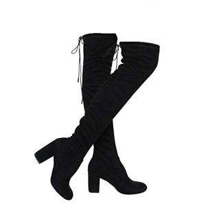 Women's Thigh High Boots Stretchy Drawstring Over The Knee