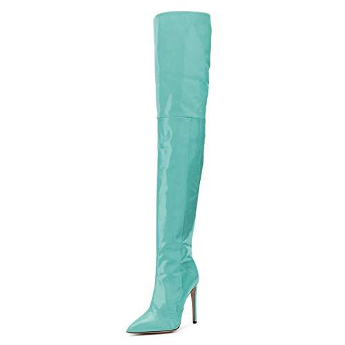 FSJ Women Fashion Pointed Toe Stiletto Heel Thigh