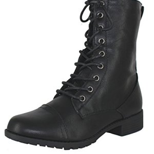 Forever Link Womens Round Toe Military Lace up Boots