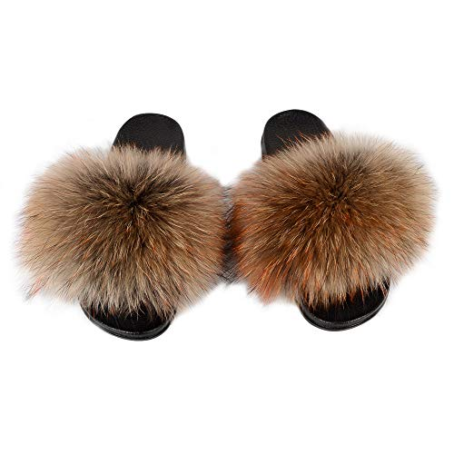 YIJIARAN Womens Luxury Real Raccon Fur Sliders Slippers