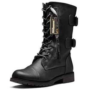 DailyShoes Women's Military Lace Up Buckle Combat Boots