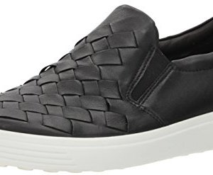 Black ECCO womens Soft 7 Woven Slip Fashion Sneaker