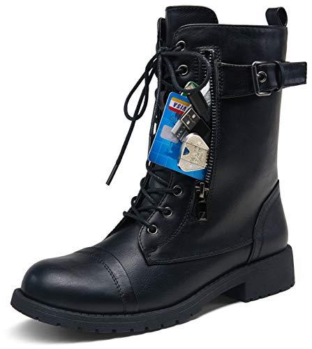 VEPOSE Women's 28 Mid Calf Boots Black Military Combat Boot
