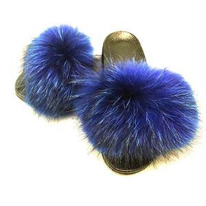 IHandMade Fox Fur Slides for Women