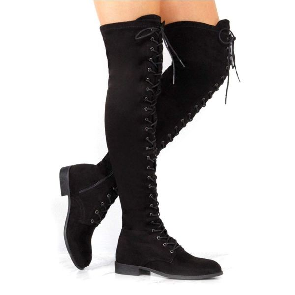 YING LAN Women's Over The Knee Low Heel Lace