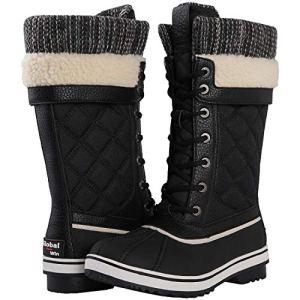 GLOBALWIN Women's Black Mid Calf Winter Snow Boots