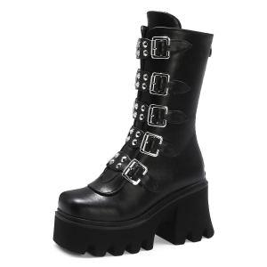 YIYA Women's Studded Mid Calf Combat Boots