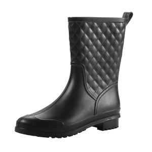 Petrass Women Rain Boots Black Waterproof