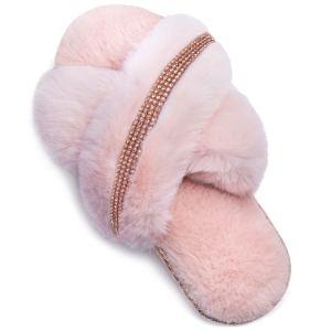 ZIZOR Women's Rhinestone Open Toe Slippers