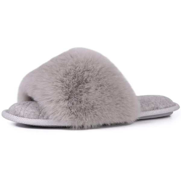 LongBay Women's Fuzzy Faux Fur Memroy Foam Slippers