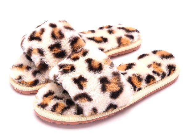 Fur Slippers Flip Flop Open Toe Cozy House Sandals