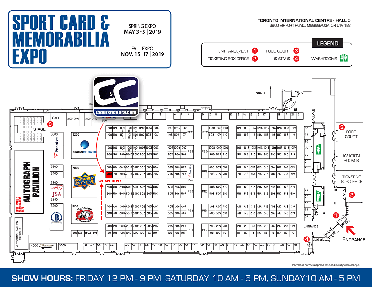 Sport Card Expo May 2019 CloutsnChara location booth #700