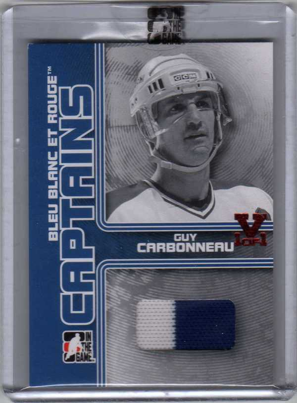 2015-16 ITG Final Vault 08-09 Superlative Bleu Blanc et Rouge Captains Jersey Guy Carbonneau 1/1