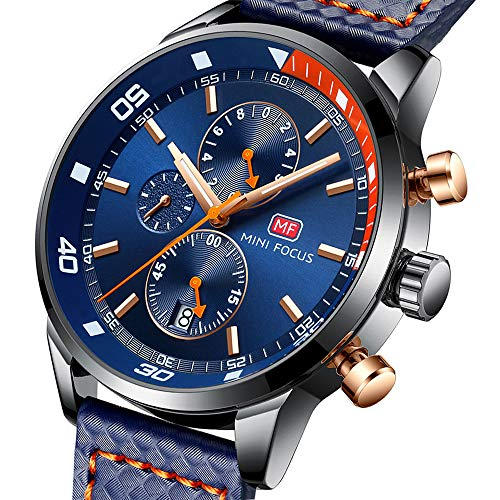 MF MINI FOCUS Mens Watch Business, Chronograph Waterproof Wrist Watches