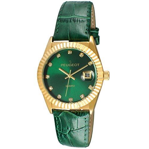 Peugeot Women's 'Gold Tone Green Leather Strap' Quartz Watch