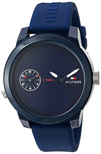 Tommy Hilfiger Men's 'Denim' Quartz Plastic and Rubber Casual Watch, Color:Blue