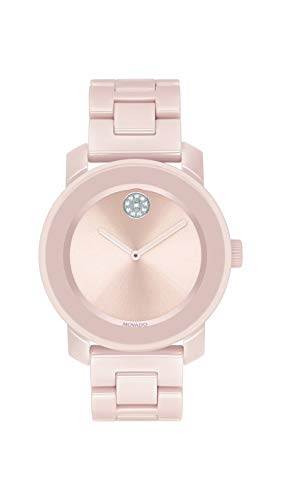 Movado Women's Bold Ceramic Watch with a Crystal-Set Dot, Pink/Silver