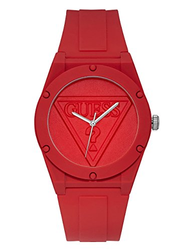 GUESS Logo Silicone Casual Watch, Color: Red