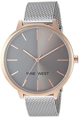 Nine West Women's Silver-Tone Mesh Bracelet Watch