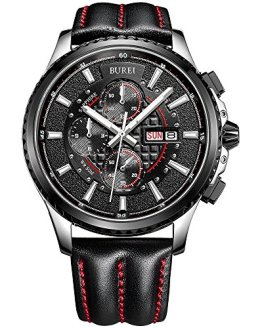 BUREI Mens Chronograph Quartz Watches