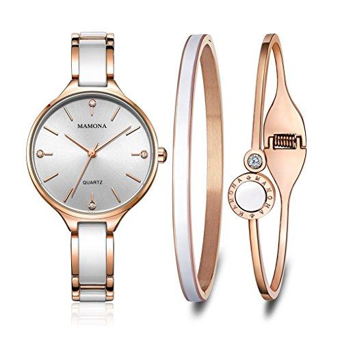 MAMONA Women's Quartz Watch Gift Set Crystal Accented Ceramic