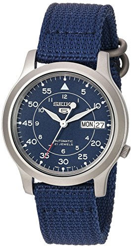 Seiko Men's Seiko 5 Automatic Stainless Steel Watch with Blue Canvas Band