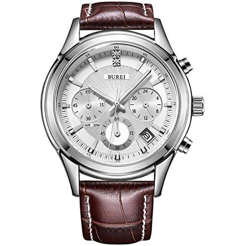 BUREI Mens Business Casual Elegant Chronograph Sports Watch