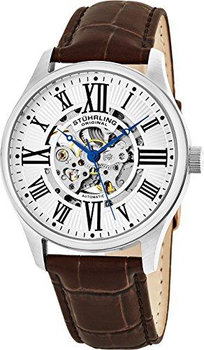 Stuhrling Original Men's Atrium Automatic Skeleton Brown Leather Band Watch