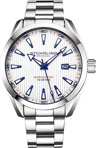 Stuhrling Original Mens Wrist Watch White Analog Dial with Date